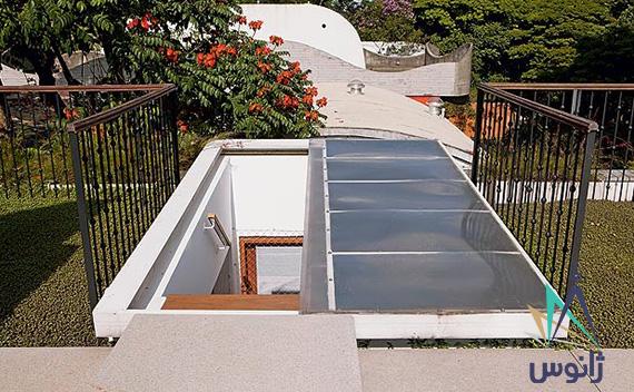 سقف جمع شونده شیشه ای و پلی کربنات