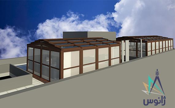 رستوران شیشه ای با سقف متحرک
